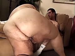 Sensual plump girl blowing on floor