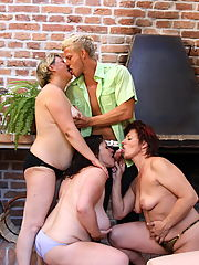 This lucky guy is fucking three mature sluts