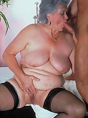 Granny fatty having her big boobs creamed