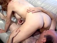 Mature caresses pussy n sucks cock