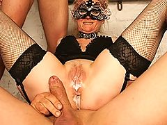 Mama gets a double team creampie