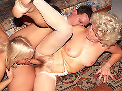 Horny older gals Francesca and Erlene take turns in getting cock crammed by a handsome younger guy